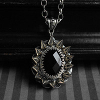 Gothic/dark victorian glass cabochon necklace with spikes - jet black - unisex jewelry