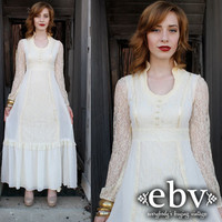 Vintage 70s Lace Hippie Boho Wedding Maxi Dress S M