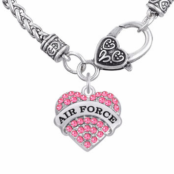 Military Jewelry AIR FORCE Clear Pink Blue Crystal Heart Pendant Necklaces Jewelry Womens Jewelry