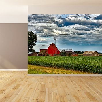 Farm Country Scene Custom Designed Wallpaper Peel and Stick
