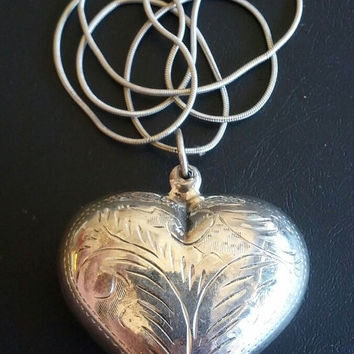 Huge Sterling Silver Heart Pendant Valentine's 3D Engraved Necklace Vintage Stamped 925 Chain