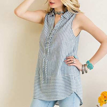 ENTRO lace up collar denim striped top