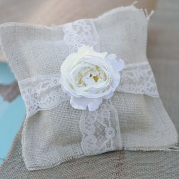 Rustic Wedding Ring Bearer Pillow AND Flower Girl Basket (item E10053)