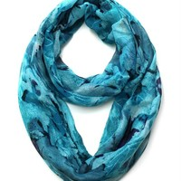 Floral Print Lightweight Spring Infinity Loop Scarf (Abstract Blue)