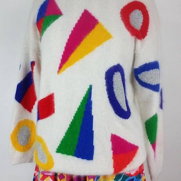 HEAD-TURNER!! Vintage 90s White Angora Sweater with Pop Art Geometric Colorful Shapes and Metallic Threads!