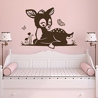 Wall Decal Fawn Cartoon Animals Butterflies Nature Vinyl Sticker Decals Nursery Baby Room Kids Boys Girls Home Decor Bedroom Art Design Interior NS479