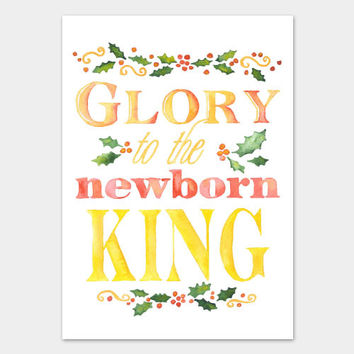 Glory to the Newborn King Watercolor Christmas Card Set
