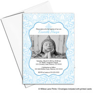 Printable Baptism Invitation Boy | blue christening invites with photo | DIY digital file or printed cards - WLP00204
