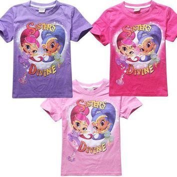 DCCKH6B shimmer and shine Girls T-shirt pure cosplay cotton short sleeve for children costume