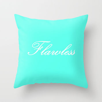 Flawless Tiffany Blue & White Throw Pillow by 2sweet4words Designs