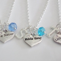 Big Sister Middle Sister Little Sister Necklaces, Set of 3 Necklaces, Heart Necklace, Personalized Necklace, Silver necklace, Birthstone