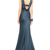 Ocean Blue Sleeveless Cutout Fishtail Maxi Dress