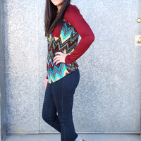 Aztec Chevron Print Long Sleeve Shirt with Pocket {Multi-Color}