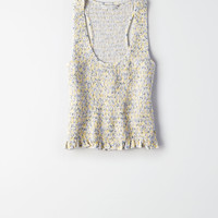 AE SOFT & SEXY SMOCKED FLORAL PRINT TANK TOP, Yellow