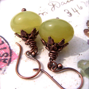 Green Jade Earrings, Handmade Pure Copper Wires, Vintage Style, Jade Rondelle Stones, Olive, Earth, Natural
