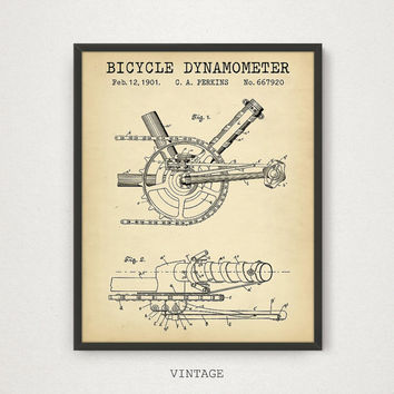 Bicycle dynamometer Patent Artwork, Bicycle Poster, Digital Download Printable Blueprint Art, Bicycle Print, Bike Wall Art, Vintage Dynamo