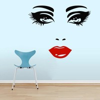Wall Decals Makeup Eyes Girl Lips Woman Fashion Cosmetic Hairdressing Make up Hair Nail Beauty Salon Wall Vinyl Decal Stickers Bedroom Murals