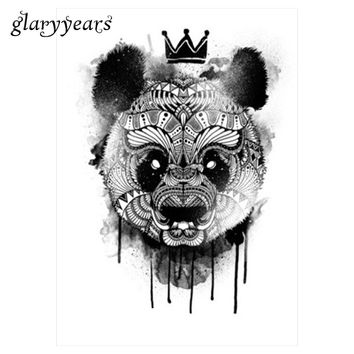 1 Piece Black Decal Waterproof Tattoo Panda King Pattern Sticker Design KM-052 Cool Women Man Inspired Body Art Temporary Tattoo