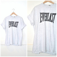 90s grunge EVERLAST speckled grey vintage 1990s ATHLETIC gear unisex OVERSIZED Tshirt large os