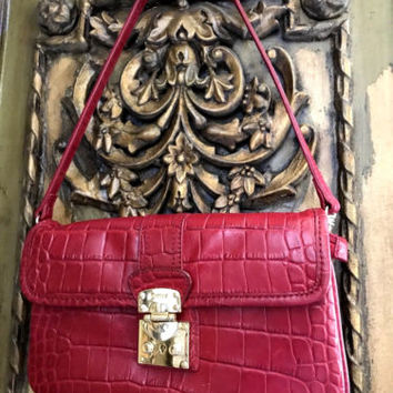 DKNY Donna Karan RED Croc embossed Leather Clutch Designer Hand Bag
