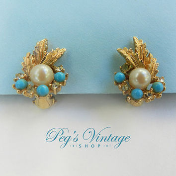 Signed Art, Turquoise And Cultured Pearl Earrings / Gold Plated Leaf Clip Earrings