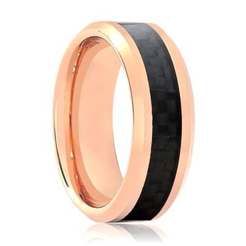 Aydins Rose Gold & Carbon Fiber Inlay Tungsten Wedding Ring for Men & Women 6mm - 8mm Beveled Edge Tungsten Carbide Wedding Band