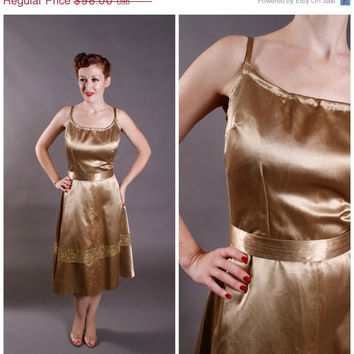 CHRISTMAS SALE - 1950s Vintage Dress - Gold Satin Cocktail Party Dress with Metallic Lace - Gilded