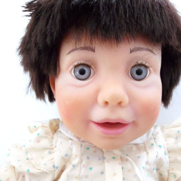 Creepy Real Baby Doll by Judith Turner - Vintage 1980s Large Realistic Baby Doll by Hasbro