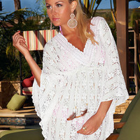 Stretch Lace Tunic - White Beach Cover-up