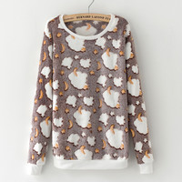Novelty gray star moon Cloud Print Harajuku Christmas Sweater Women 2017 Winter Warm Flannel Sweater Cashmere Knitted Sweater
