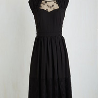 Long Sleeveless A-line Your Good Graces Dress in Noir