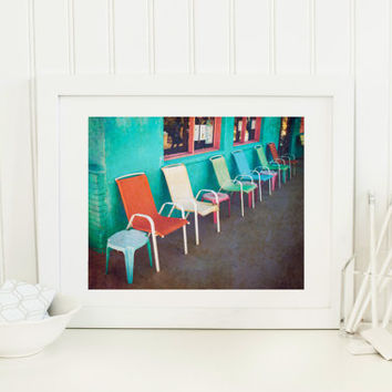 Vintage print, row of chairs, colorful chairs, fine art photography, color photography, wall art home decor, bright color, summer beach town