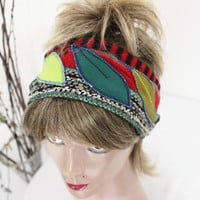 Red wool head headband ear warmers Winter Formal ears warm knitted patchwork of red head band Womens Winter Leaves appliqué band