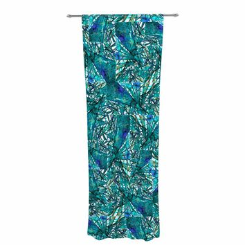 """Ebi Emporium """"New Directions, Peacock Cool"""" Teal Blue Pattern Geometric Mixed Media Painting Decorative Sheer Curtain"""