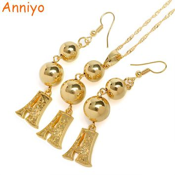 Anniyo (A-S) Gold Color Letters Bead Pendant & Earrings Initial Chain for Women,Ball Necklace English Letter Jewelry #069206(19)