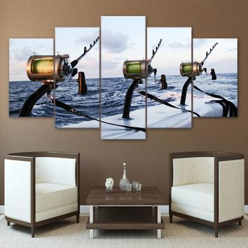 5 Panel Wall Art Canvas Panel Picture Boat Deep Sea Fishing Rods Framed UNframed