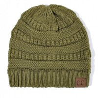 CC Thick Knit Beanie, Olive