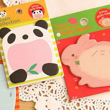 Sticky Notes Memo Pad Labels| Bookmark Cute Stationary Paper | School Office Supplies| Removable Adhesive Animal Korean Post-It M09