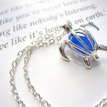 Perfect nautical gift for sisters, girlfriends, turtle lovers - Cute Turtle Necklace with real Sea Glass - FREE SHIPPING