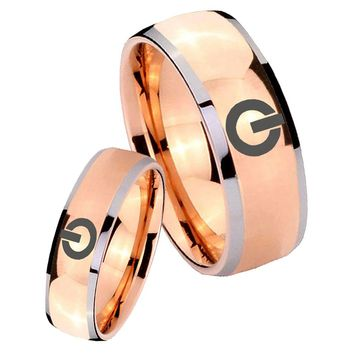 His Hers Rose Gold Dome Power Design Two Tone Tungsten Wedding Rings Set