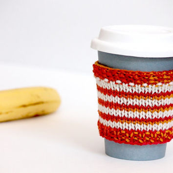 Coffee Sleeve, Colorful Hand Knit Cup Cozy, Spring Small Gift, Easter Gift, Red and White Coffee Cozy, Cup Sleeve Gift, Striped Cup Collar