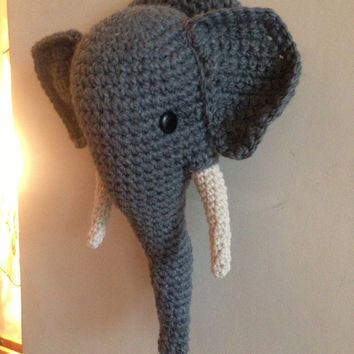 Crochet Wool Mounted Stuffed Trophy Head Elephant Wall Hanging