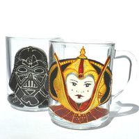 Hand Painted Mug - star wars - Unique Artistic Gift - Dinner - Parties- cup - Darth Vader - Padme Amidala
