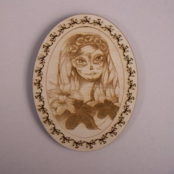 Girl Wood Cutout, Laser Cutouts, Unfinished Wood, Dia de los Muertos, Calavera, Day of the Dead, Woodcrafting Pieces, Wood Ornaments