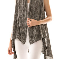 Charisma Black/White Two Tone Draped Knit Vest