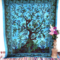 Tree of life Tapestry, Psychedelic Star Mandala Tapestry Wall Hanging, Indian Bedspread Bohemian Room Décor, Dorm Bedding Tapestry Art