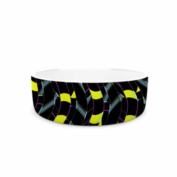 "Dawid Roc ""Waves In Ropes Abstract 1"" Yellow Abstract Pet Bowl"