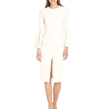 Jill Jill Stuart Women's Cocktail Dress with Front Slit and Bell Sleeves Off/White 14