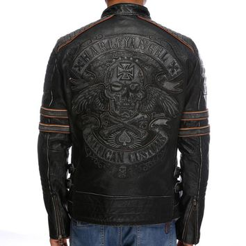 New Men Retro Vintage men Leather jacket Biker Jacket Embroidery Skull Pattern Black Slim Fit Men Winter Motorcycle Coat new