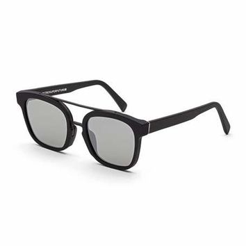 Super by Retrosuperfuture Akin Square Brow-Bar Sunglasses, Black Matte